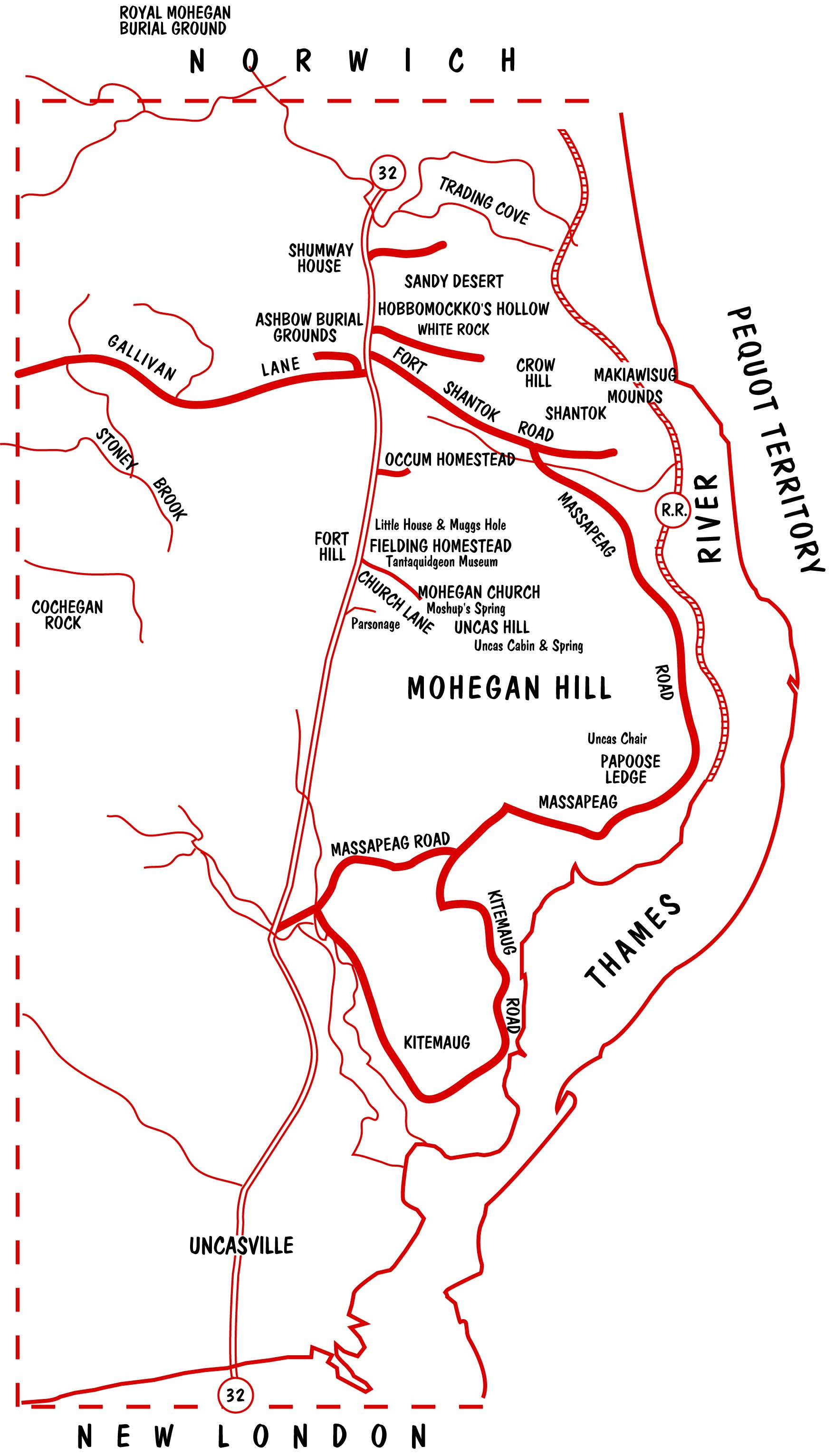 Mohegan Reservation Map
